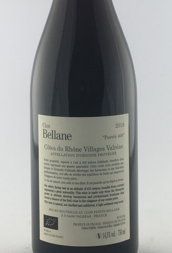 CDR Villages - Valréas Clos Bellane Pureté 400 2018 75 cl Rouge